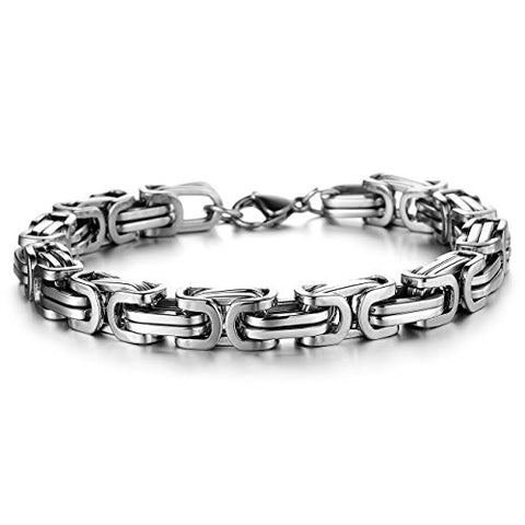 BoRuo 316L Stainless Steel Wide Byzantine Style Mechanic Link Bracelet High Polished 8.66 Inch