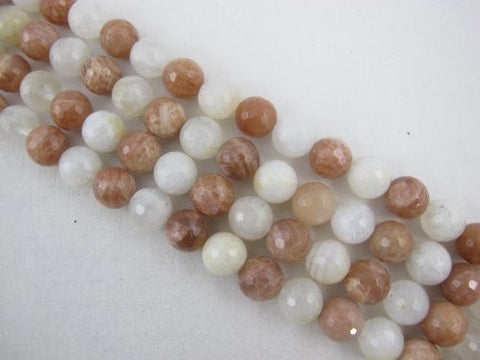 Moonstone And Sunstone Natural Gemstone Faceted Round 12mm White/Orange Color 34pcs 15.5'' Strand Gemstone Beads