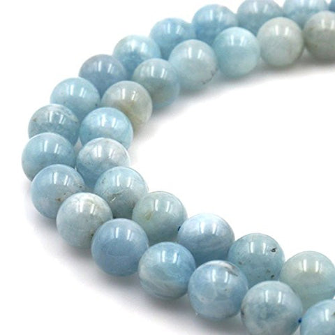 BRCbeads Gorgeous Natural Aquamarine Gemstone Round Loose Beads 12mm Approxi 15.5 inch 1 Strand per Bag for Jewelry Making