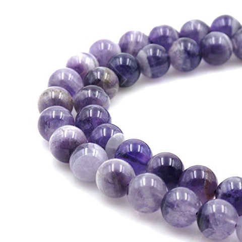 BRCbeads Gorgeous Natural Dog Teeth Puple Amethyst Gemstone Round Loose Beads 12mm Approxi 15.5 inch 30pcs 1 Strand per Bag for Jewelry Making