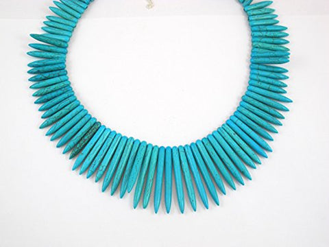Jewelry Fashion Howlite Turquoise Stone Loose Spike Beads Necklace Choker Collar