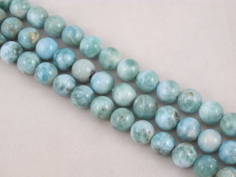 "Nature Larimar AB Grade Gemstone Dominican Larimar 10mm Round 40pcs 15.5"" Per Strand Jewelry Making&design Beading"