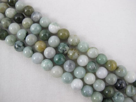 Jade Nature Jade Multi-green Color 10mm Round 41pcs 15.5'' Per Strand