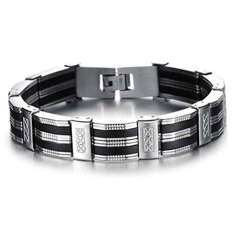 BoRuo 316L Stainless Steel Wide Bike Link Chian Link Bracelet Wristband Cuff With Silicone 8.27 Inch
