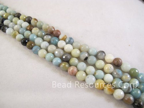 Amazonite Natural Gemstone Beads Blue/yellow Color 8mm Faceted Round 47pcs 15.5'' Jewelry Making Beads