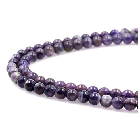 BRCbeads Gorgeous Natural Amethyst Gemstone Round Loose Beads 5-6mm Approxi 15.5 inch 60pcs 1 Strand per Bag for Jewelry Making