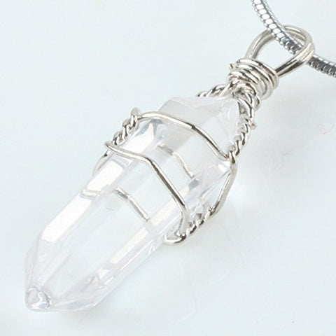 Silver Wire Wrapped Natural Quartz Rock Crystal Point Pendant