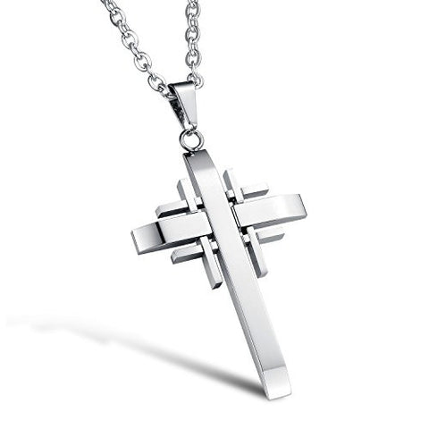 BoRuo 316L Stainless Steel Silver Fashion Cross Pendant Necklace with 20 inch Chain for Man
