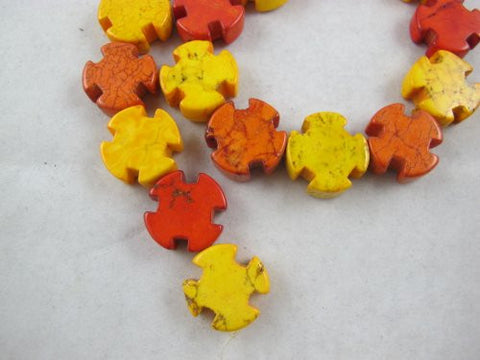 Howlite Dyed Red/yellow Color Cross Shape Beads 20x20mm 20pcs 16'' Per Strand