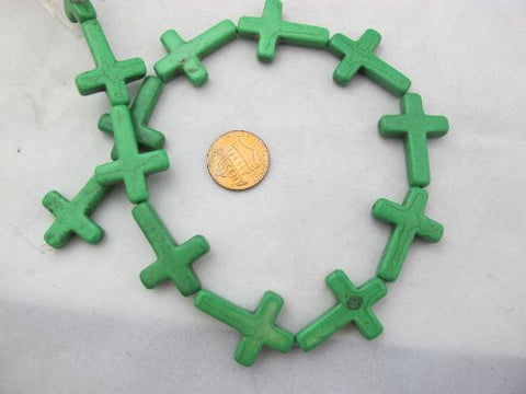 Howlite Dyed Green Color Cross Beads 22x30mm 14pcs 17'' Per Strand