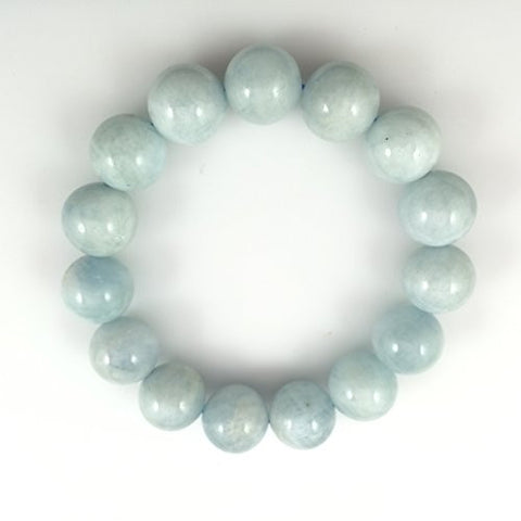 Aquamarine Natural Gemstone Bracelets Blue/Cloudy Color smooth Round 14mm 14pcs