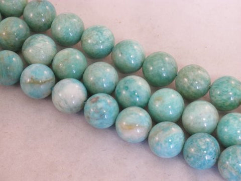 Amazonite Nature Gemstone Beads Blue/green Color 14mm Round 28pcs 15.5''