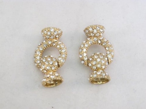 Magnetic Clasp (Zinc-based Alloy) Gold Color with Rhinestone Cone Shape 18x28mm 2pcs/per Bag