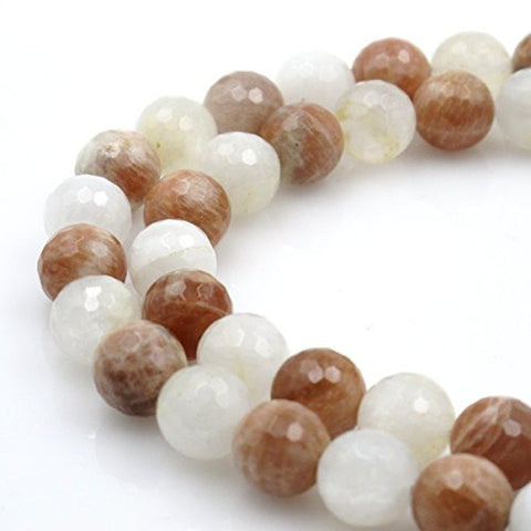BRCbeads Gorgeous Natural Faceted Moonstone and Sunstone Gemstone Round Loose Beads 12mm Approxi 15.5 inch 30pcs 1 Strand per Bag for Jewelry Making