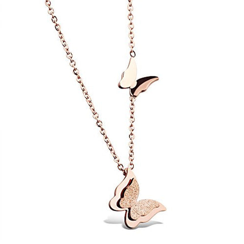 BoRuo 316L Stainless Steel Rose Gold Butterfly Pendant Necklace 17 inch Chain + Extension for Women