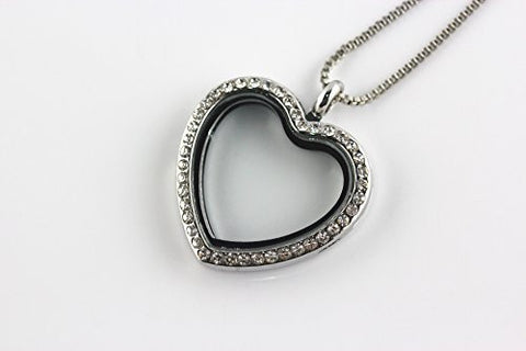BRCBeads Silver Plated 30mm Heart Shape Glass Crystal Memory Living Floating Charms Locket Necklace + FREE 24 Inch Box Chain 1pcs per Bag Best DIY Jewelry Accessories