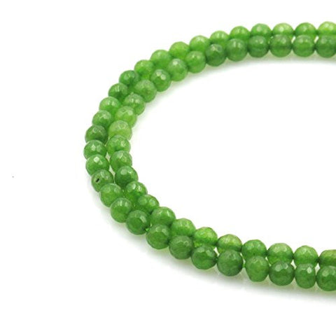BRCbeads Gorgeous Faceted Light Green Dyed Jade Gemstone Round Loose Beads 4mm Approxi 15.5 inch 95pcs 1 Strand per Bag for Jewelry Making