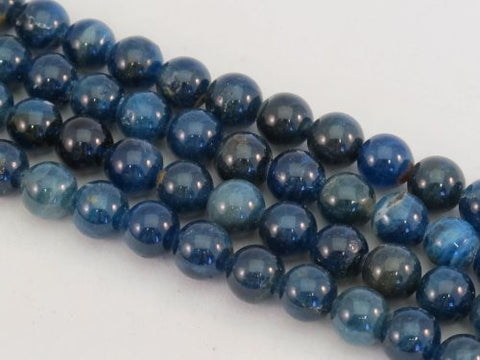 Kyanite Nature Gemstone Dark Blue 8mm Round 50pcs 15.5""