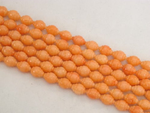 Coral Beads Bamboo Coral Dyed Orange/pink Color 6x9mm Whorl Rice Shape 48pcs 16'' Per Strand