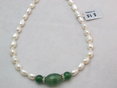 Fresh Water Pearl Beads Cultured Pearl Nature Pearl Rice Shape with Green Agate 8-9mm 17'' Per Strand Jewelry Making Jewelry Design