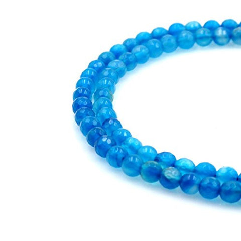 BRCbeads Gorgeous Faceted Sky Blue Fire Agate Gemstone Round Loose Beads 6mm Approxi 15.5 inch 60pcs 1 Strand per Bag for Jewelry Making