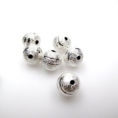 BRCbeads Top Quality 10mm Silver Plated Diamond Cut Stardust Stripe Alloy Beads 50pcs per Bag For Jewelry Making