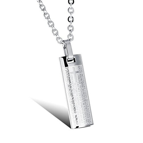 BoRuo 316L Stainless Steel Silver Bible Lords Prayer Cross Vintage Pendant Necklace 20 inch Chain