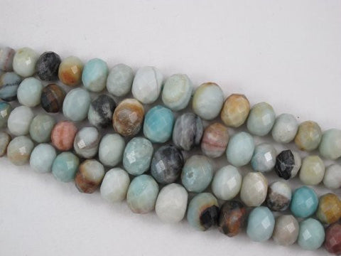 Amazonite Natural Gemstone Beads Faceted Gradualed Rondelle Blue/yellow Color 9-19mm 43pcs 15.5'' Jewelry Making Beads