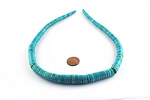 "Turquoise Natural Turquoise Enhances Color Graduated Heishi Beads Strand Genuine 16"" 4mm-12mm"