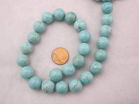 Magnesite Turqoise Dyed Blue Round Beads 14mm 27pcs 16'' Per Strand
