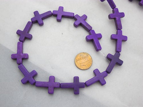 Howlite Dyed Purple Color Cross Beads 18x25mm 16pcs 17'' Per Strand