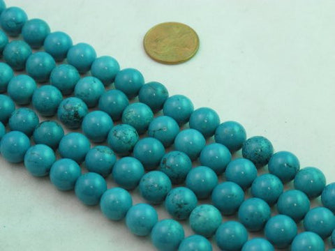 Nature Chinese Turquoise Round Blue 10mm 16'' Per Strand 40pcs
