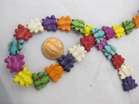 Howlite Dyed Multi-color Bee Shape Beads 13x15mm 30pcs 16'' Per Strand