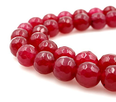 BRCbeads Gorgeous Faceted Pink/RED Fire Agate Gemstone Round Loose Beads 8mm Approxi 15.5 inch 45pcs 1 Strand per Bag for Jewelry Making