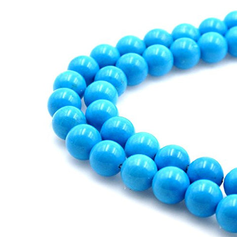 BRCbeads Gorgeous Natural Sky Blue Turquoise Gemstone Round Loose Beads 10mm Approxi 15.5 inch 38pcs 1 Strand per Bag for Jewelry Making