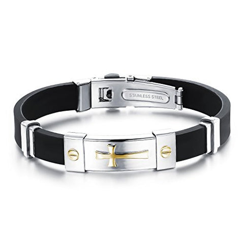 Dora Collection 316L Stainless Steel With Black Genuine Silicone Golde Plated Cross Link Bracelet Wristband Cuff. Best Gift for Man 8.27 Inch