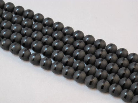 Matte Black Onyx Nature Gemstone with One-line Round Bead 10mm 15.5''