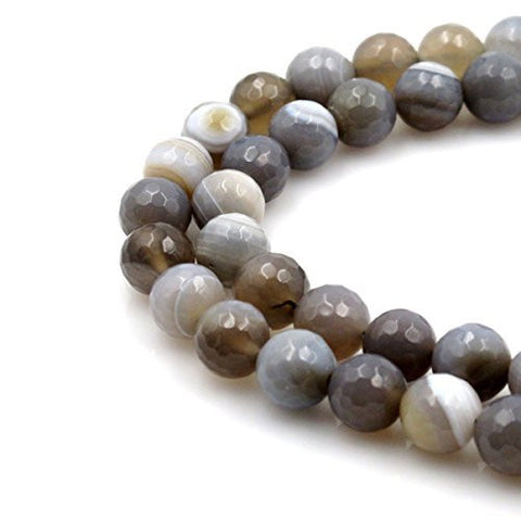 BRCbeads Gorgeous Faceted Stripe Grey Fire Agate Gemstone Round Loose Beads 14mm Approxi 15.5 inch 25pcs 1 Strand per Bag for Jewelry Making