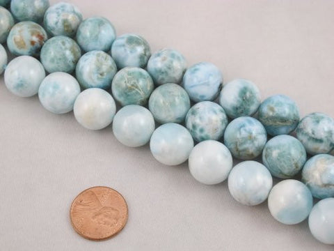 "Natural Larimar AB Grade Gemstone Dominican Larimar 14mm Round 28pcs 15.5"" Per Strand Jewelry Making&design Beading"