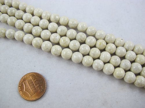 Fossil Beads Nature Fossil White Color Round 8mm 54pcs 16''per Strand