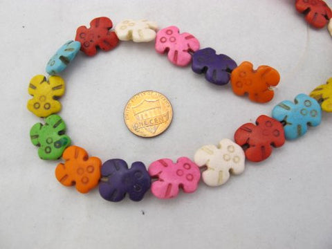 Howlite Dyed Multi-color Bear Shape Beads 15x19mm 21pcs 16'' Per Strand