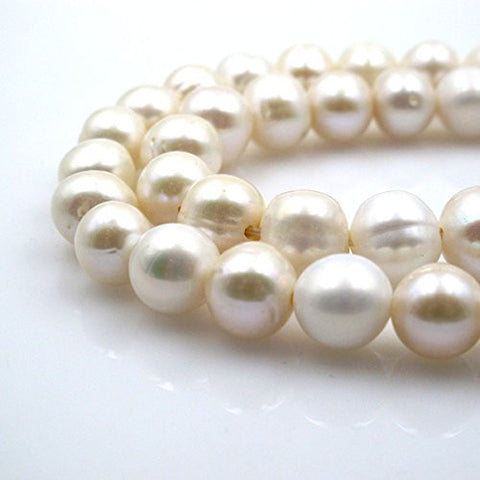 BRC Beads Fresh Water Pearl Natural Pearl Round Shape White 12~15mm 15.5 Inch Large Hole(2.5mm)Approxi 32pcs Cultured Freshwater Pearls