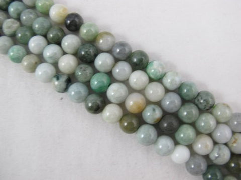 Jade Nature Jade Multi-green Color 8mm Round 52pcs 15.5'' Per Strand