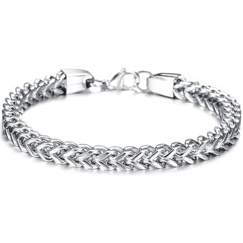 BoRuo 316L Stainless Steel Wide Silver Wheat Link Bracelet High Polished 9.44 Inch