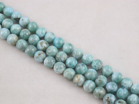 "Natural Larimar AB Grade Gemstone Dominican Larimar 8mm Round 48pcs 15.5"" Per Strand Jewelry Making&design Beading"