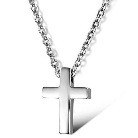 BoRuo 316L Stainless Steel Rose Silver Cross Pendant Necklace with 16 inch Chain for Man and Woman