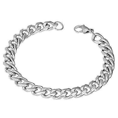 BoRuo 316L Stainless Steel Wide Silver Stainless Steel Curb Link Bracelet High Polished 8.26 Inch