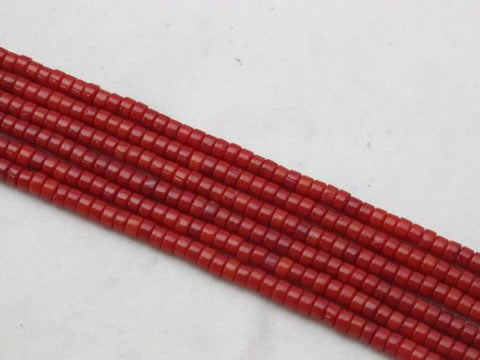 Coral Beads Bamboo Coral Dyed Red Color 2x4mm Disc Shape 175pcs 16'' Per Strand
