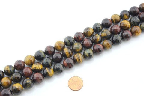 Tiger Eye Natural Gemstone Multi-color Faceted Round Shape 14mm 27pcs 15.5''per Strand Jewelry Making Beads