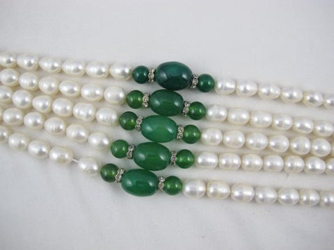 Freshwater Pearl Rice Shape White Color with Green Agate 10-11mm 15.5 Inch Per Strand